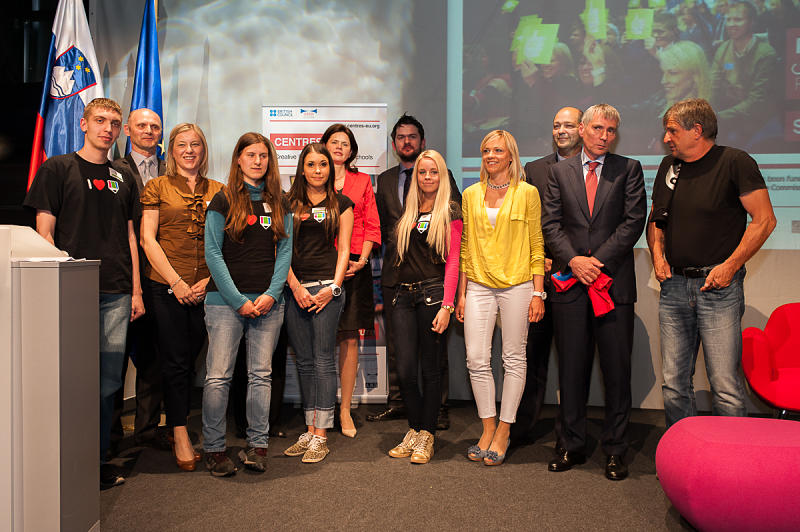 Prime minister Alenka Bratušek with students